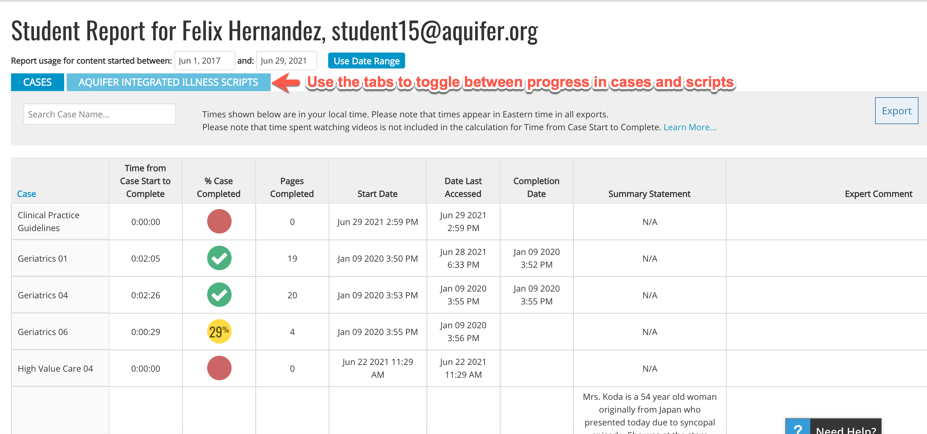 Individual Student Report