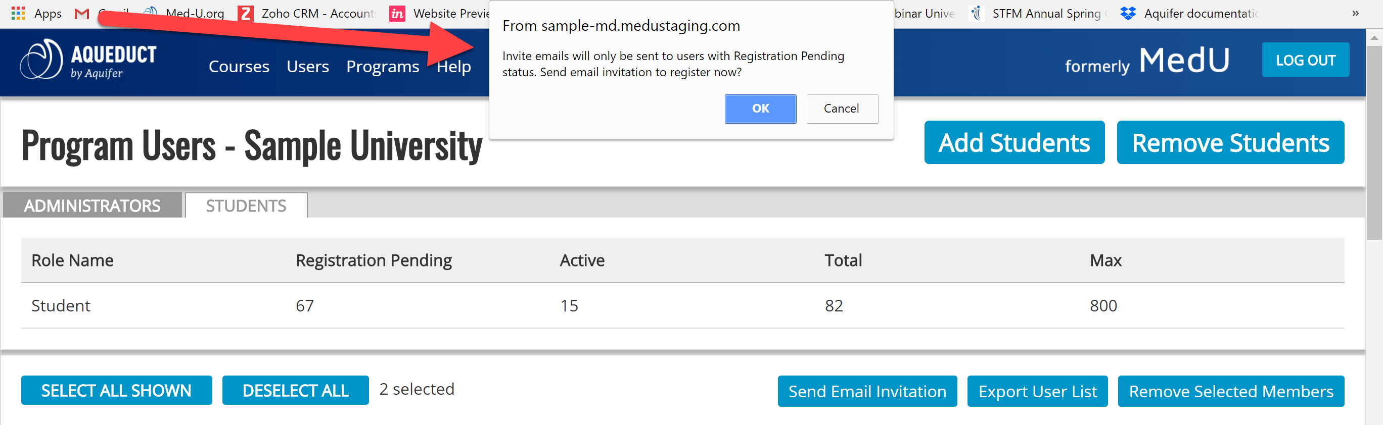 student user email invitation message