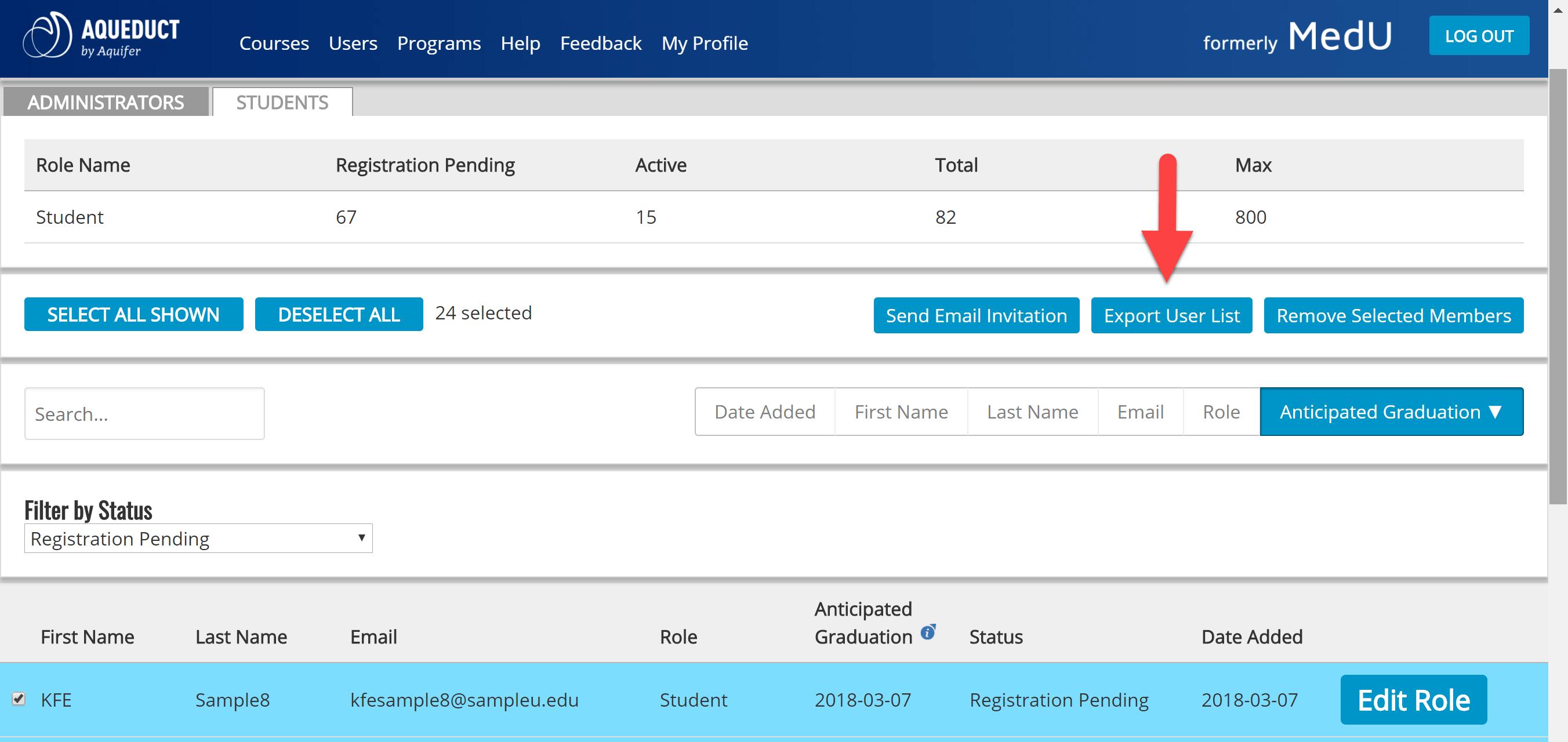 student user export list