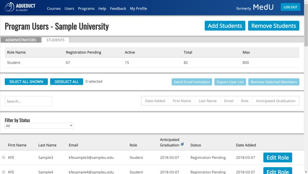 student user panel
