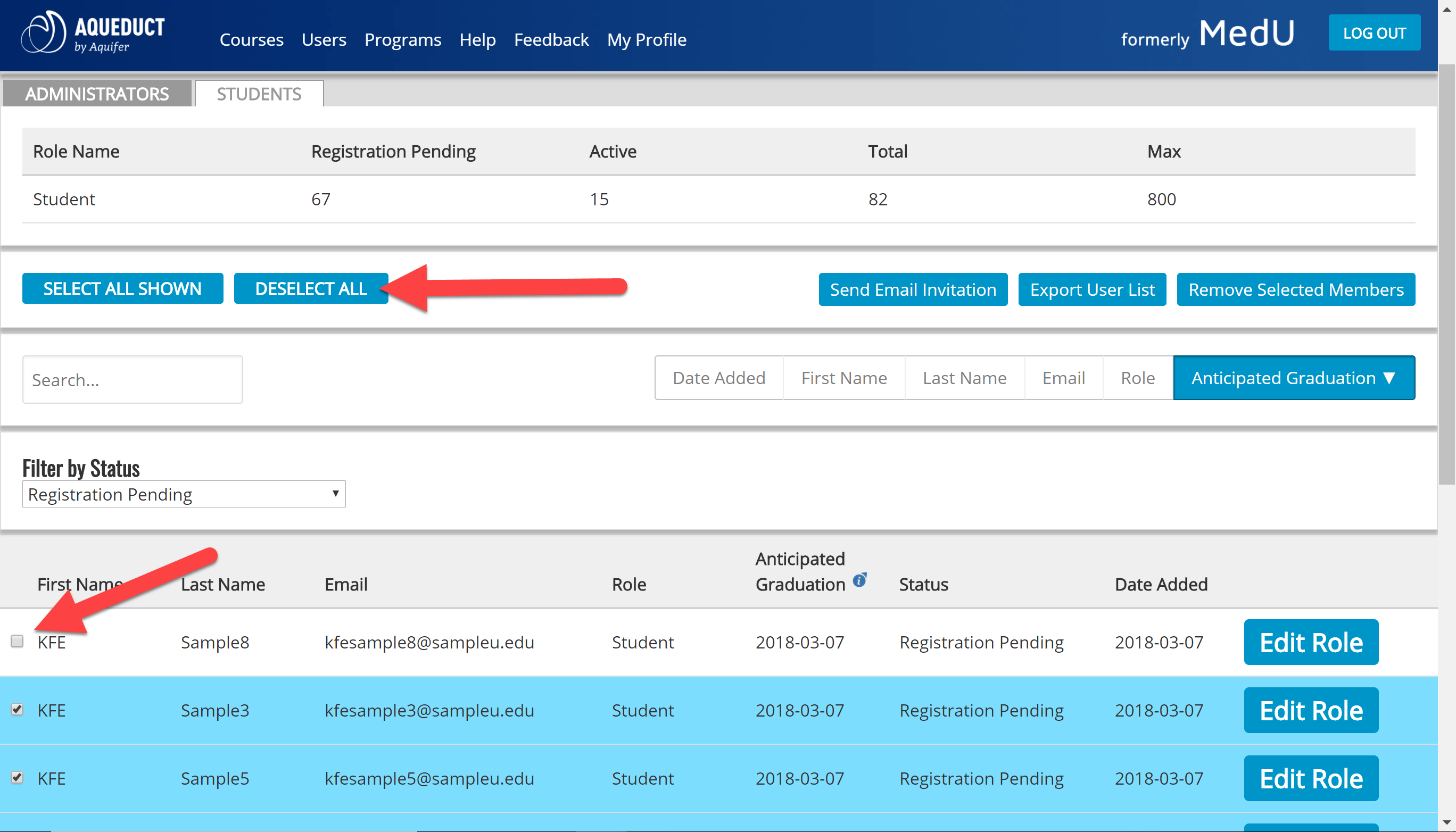 student user select and deselect options
